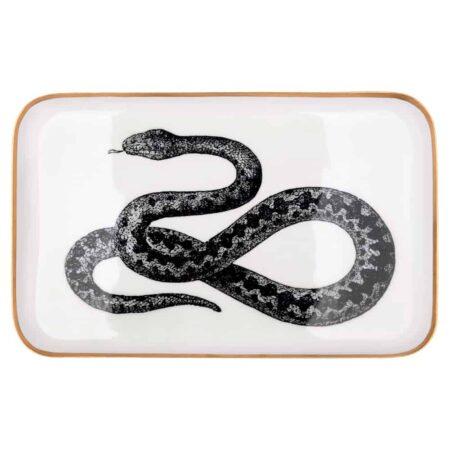 Tablett SAIGON von GIFTCOMPANY mit Schlangen Abbildung in schwarz und weiß, 42x2x26cm