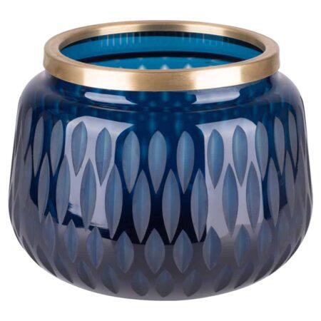 Vase FLAGON blau, extravagantes Muster mit Goldrand von GiftCompany