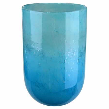 Vase LINEN aqua Ø24,6x36cm, prunkvolle luxuriöse Glasvase von GiftCompany
