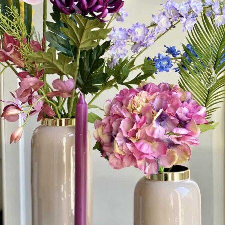 Vase SAIGON rosa + Kerzenhalter DIOPTICS, exklusive Vasen und Kerzenständer aus Kristallglas von GiftCompany