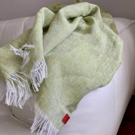 Plaid LINO grün - Decke aus 100% Leinen von CARMA