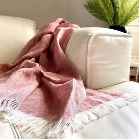 Plaid LINO rot - Decke aus 100% Leinen von CARMA