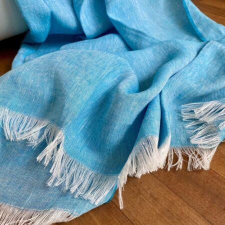 Plaid LINO aqua - Decke aus 100% Leinen von CARMA