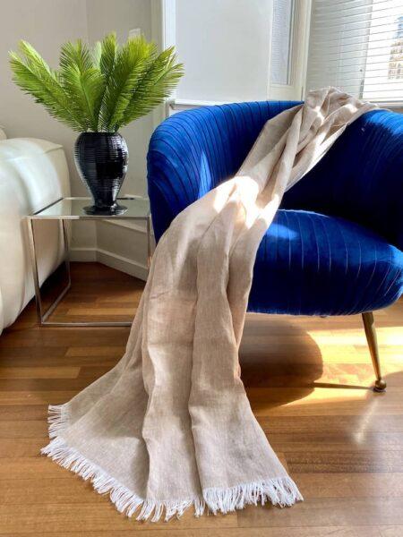 Plaid LINO taupe - Decke aus 100% Leinen von CARMA