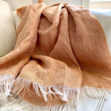 Plaid LINO apricot - Decke aus 100% Leinen von CARMA
