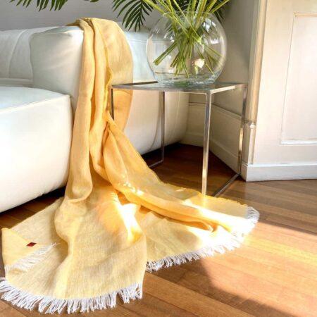 Plaid LINO gelb - Decke aus 100% Leinen von CARMA