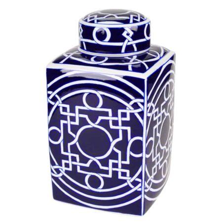 Vase INDIGO blau, weiss