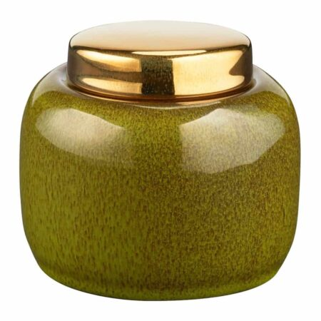 Keramikdose ARITA grün mit goldenem Deckel