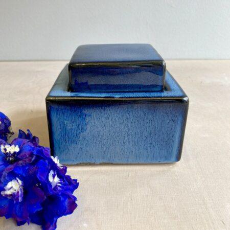 Keramikdose ARITA blau, praktisch zur Aufbewahrung und oder als besondere Deckelvase