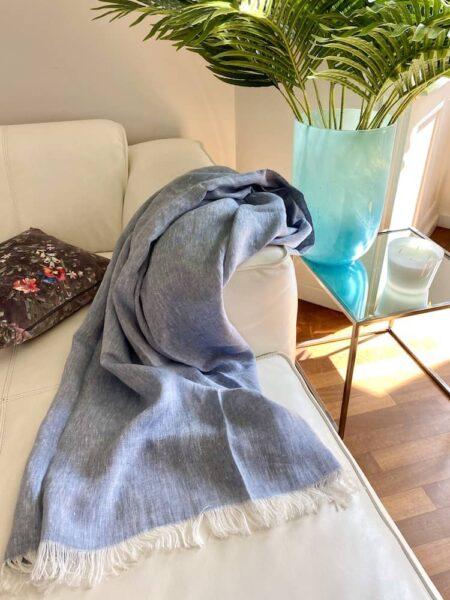 Plaid LINO denim blau - Decke aus 100% Leinen von CARMA