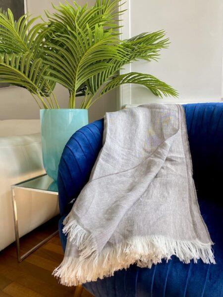 Plaid LINO grau - Decke aus 100% Leinen von CARMA
