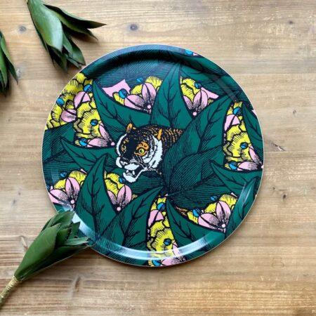 Tablett ARTIGER - rundes dekoratives Tablett mit kuriosem Tiger von der Marke Gangzai
