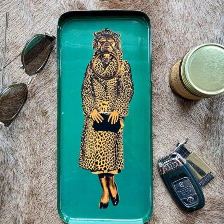 Tablett TOKLADY von GANGZAI Löwen-Design - Dekoschale mit skuriler Löwen Lady