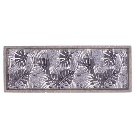 Betontablett JARDIN grau mit schwarzen Blättern