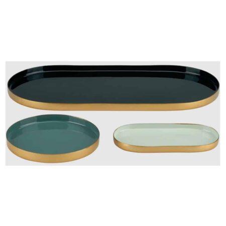 Eisentablett LAYER olivgrün, chinesische jade, yucca 3er-Set
