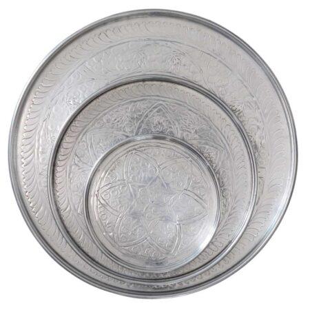 Aluminiumtablett MARRAKECH silber 3er-Set