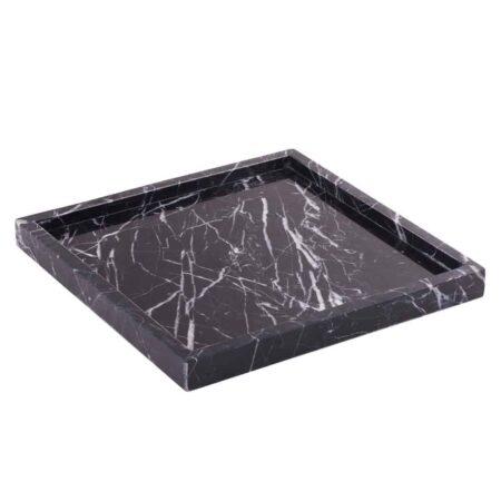Marmortablett STONE schwarz, weiss, quadratisch