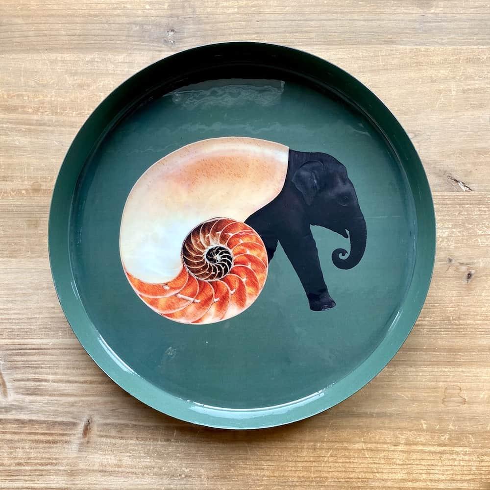 Tablett SHELLEPHANT von GANGZAI mit Elefant-Muschel-Design, Eisentablett mit kuriosem Tier-Motiv