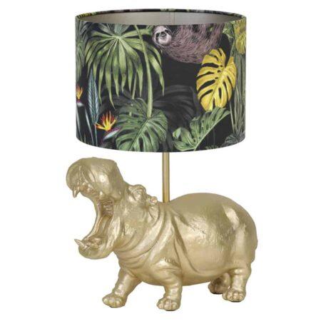 Tischlampe HIPPO gold/Dschungel, Leuchte als Nilpferd von Light & Living - Höhe ca. 50cm
