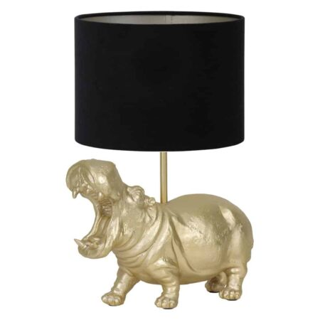 Tischlampe HIPPO gold/schwarz, Leuchte als Nilpferd von Light & Living - Höhe ca. 50cm