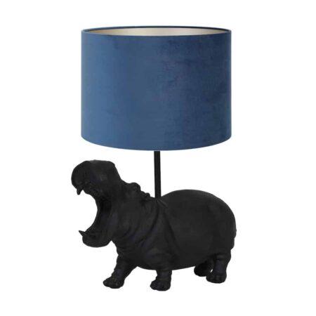 Tischlampe HIPPO schwarz - Leuchte als Nilpferd von Light & Living - Höhe ca. 40cm