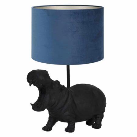 Tischlampe HIPPO schwarz - Leuchte als Nilpferd von Light & Living - Höhe ca. 50cm
