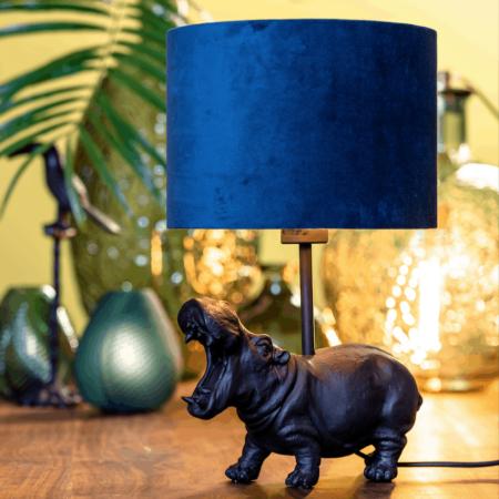 Tischlampe HIPPO schwarz, Leuchte als Nilpferd von Light & Living - Höhe ca. 40cm