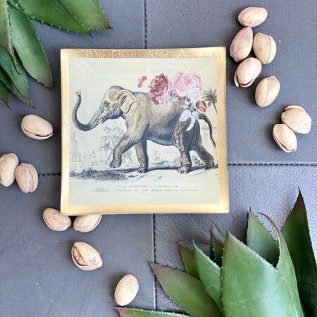 Dekoschale Glasteller LOVE PLATES ELEFANT, Der Elefant schmückt den Glasteller und vollendet das luxuriöse Design.