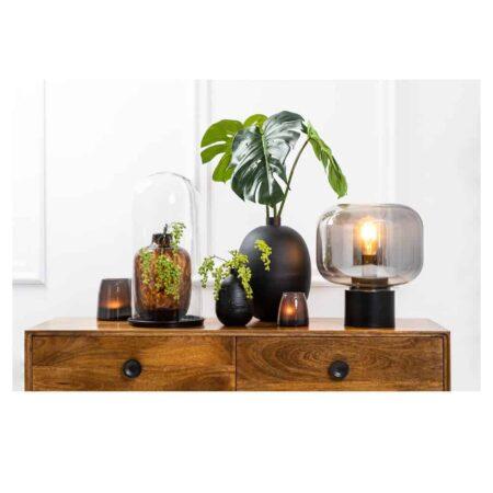 Tischlampe ARTURAN matt schwarz, smoke grau/ Ø29,5x33,5cm von Light & Living