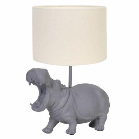 Tischlampe HIPPO grau - tierische Leuchte in Form eines Nilpferds