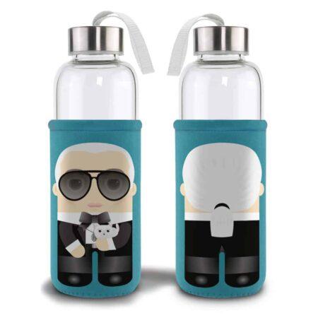 Blaue Trinkflasche Illustration Karl Lagerfeld