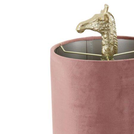 Tischlampe GIRAFFE Gold + Samt alt rosa