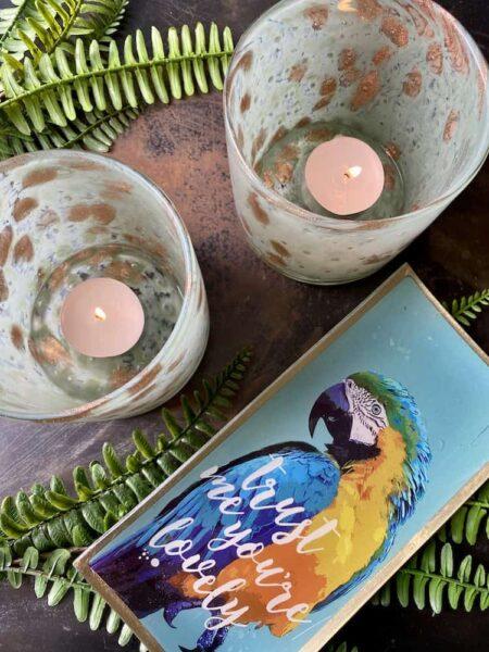 Teelicht LINEN und Glasteller Papagei, Dekoratives von GiftCompany