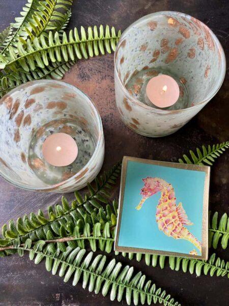Teelicht LINEN und Glasteller Seepferdchen, Dekoratives von GiftCompany