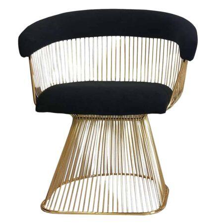 Esszimmerstuhl SPECTOR gold schwarz Leder