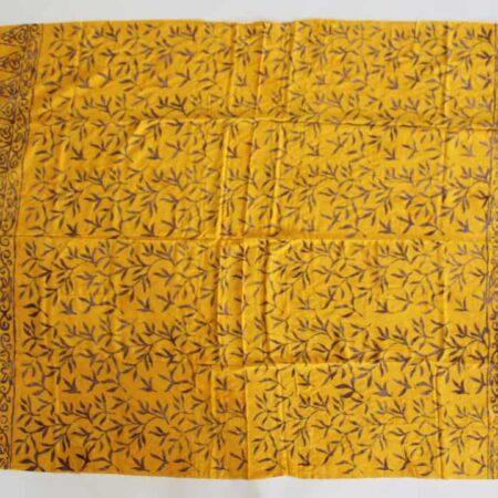 Sarong gelb mit Blätterzzweigen in braun-ocker, trauhmhaft schönes Pareo, perfekt als Strandtuch, Wickelrock, oder als leichtes Tuch im Schwimmbad, beim Picknicken oder beim Yoga