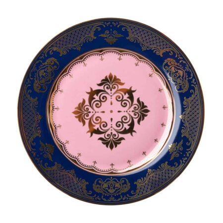 Dessertteller GRANDPA, glasiertes Porzellan - blau, rosa und goldene Verzierungen von Pols Potten