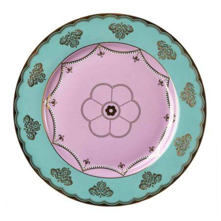 Dessertteller GRANDPA, glasiertes Porzellan - rosa, mint und goldene Verzierungen von Pols Potten