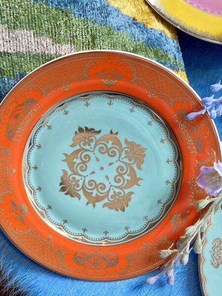 Dessertteller mint-orange, wie aus Alice im Wunderland - extravagantes Geschirr von Pols Potten