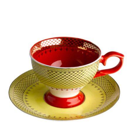 Espressotasse GRANDMA, glasiertes Porzellan in gelb, rot mit goldenen Verzierungen von Pols Potten