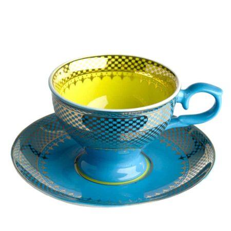 Espressotasse GRANDMA, glasiertes Porzellan in blau, gelb mit goldenen Verzierungen von Pols Potten