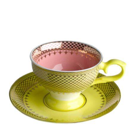 Espressotasse GRANDMA, glasiertes Porzellan in gelb, rosa mit goldenen Verzierungen von Pols Potten
