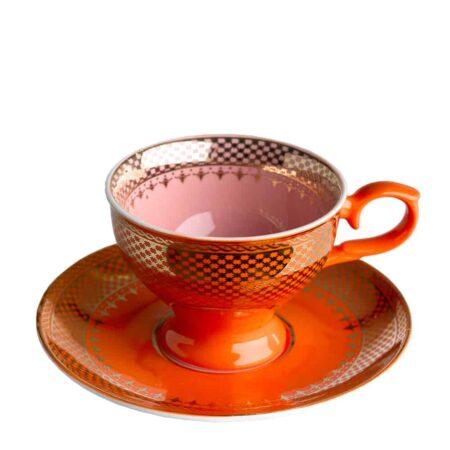 Espressotasse GRANDMA, glasiertes Porzellan in orange, rosa mit goldenen Verzierungen von Pols Potten