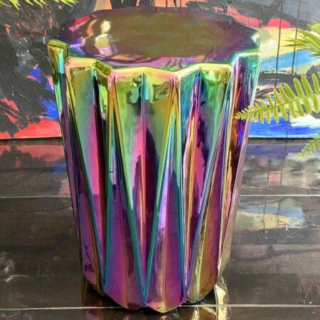 Hocker 'OILY FOLDS', extravaganter Sitz von Pols Potten - schillernde Glasur
