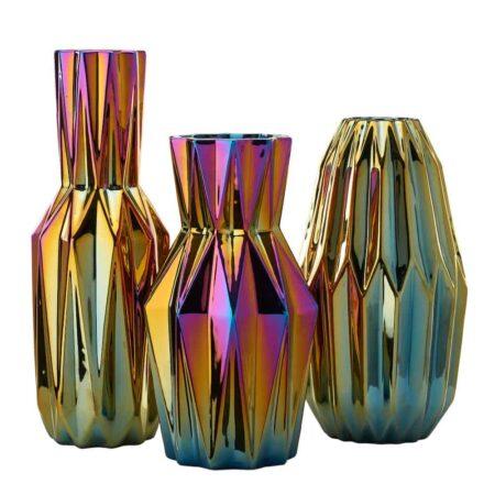 Pols Potten 'OILY FOLDS' Vasen, extravagante Faltenvase mit schillernder Glasur