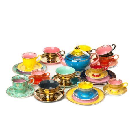 Pols Potten Porzellan, buntes Teeservice mit Teekanne wie bei Alice im Wunderland