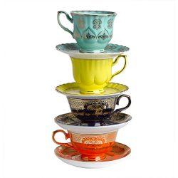 Teetassen GRANDPA 4er-Set Mehrfarbig, extravagantes glasiertes Porzellan-Set in bunten Farben von Pols Potten