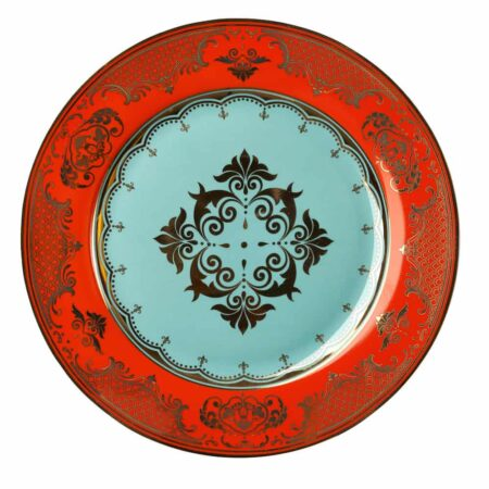 Dessertteller GRANDPA, glasiertes Porzellan - rot, mint und goldene Verzierungen von Pols Potten