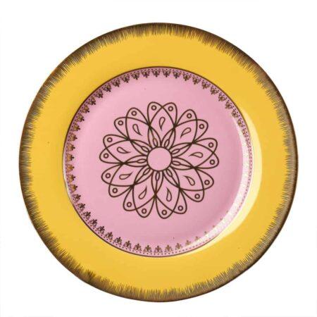 Dessertteller GRANDPA, glasiertes Porzellan - gelb, rosa und goldene Verzierungen von Pols Potten