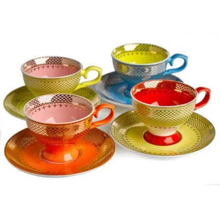 Espressotassen GRANDMA 4er-Set, wie bei Alice im Wunderland - buntes glasiertes Porzellan von Pols Potten